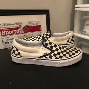 Vans Black and Cream Checkered Slip Ons